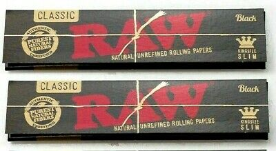 2 Pks Raw Black King Size Slim Rolling Papers USA Shipped Authentic *BEST PRICE*