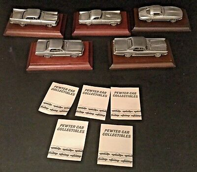 Vintage Set of 5 Avon Collectible Heavy Pewter Cars w/ Wood Displays Cards 1984
