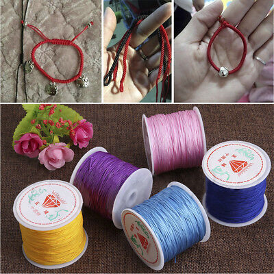 45M/0.8mm Nylon Cord Thread Chinese Knot Macrame Rattail Bracelet Braided String