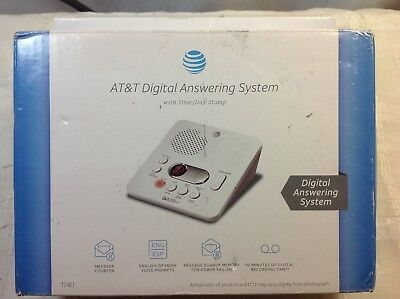 AT&T 1740 Digital Answering Machine System 60 Min Remote Access Telephone White