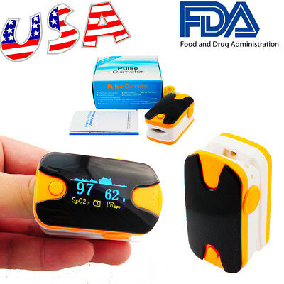 High Accuracy Finger Pulse Oximeter-SPO2 PR Monitor+Lanyard OLED Display USA CE