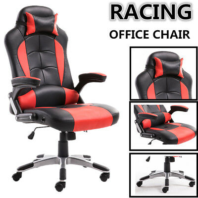 Luxury Racing Gaming Chair PU Leather Office Recliner Adjustable Computer Red UK