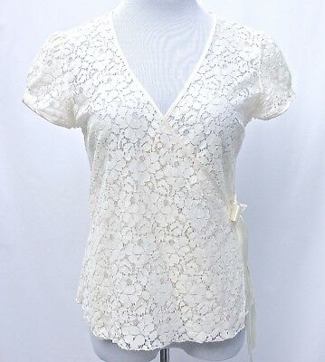 Old Navy Cream Lace V-Neck Cap Sleeve Crossover Wrap Front Tie Blouse Sz M 8-10