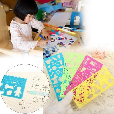 LC/_ 4Pcs Cute Kids Graphics And Symbols Drawing Template Stencil Ruler Station
