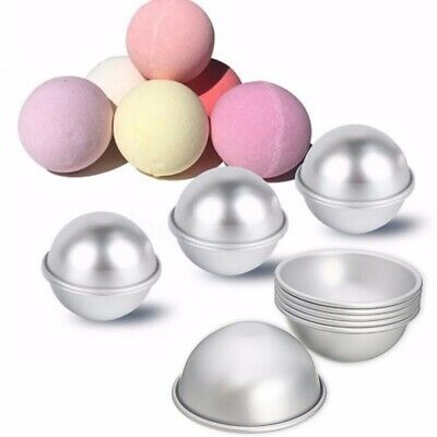 6pcs 3 Sets 65mm Aluminum Silver Round DIY Bath Bomb Molds For Fizzy Sphere Kit