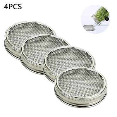 Home Stainless Steel Wide Mouth Strainer Sprouting Lid Mason Canning Jars 2/4Pcs