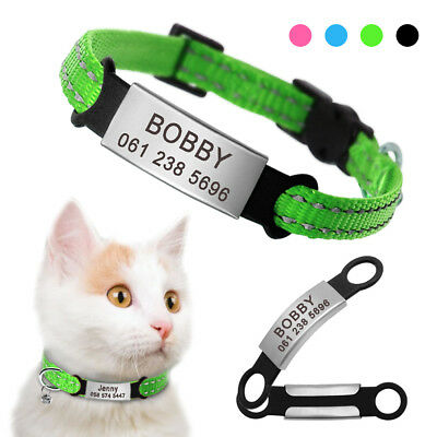 Reflective Cat Breakaway Collar with Bell Free Engraved Slide-On Cat ID Tag Name