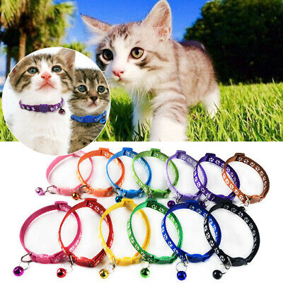 New 1PC Adjustable Pet Kitten Cat Collar With Bell Safety Casual Nylon Collars
