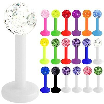 Labret Bioflex 1,2mm ab 6mm Glitter Kugel ab 2,5mm Lippenpiercing Ohrpiercing