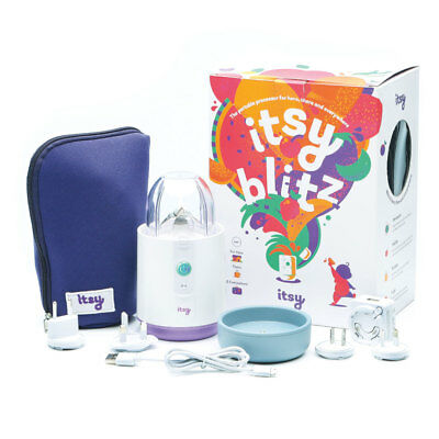 Itsy Blitz Portable Baby Food Blender with bowl, spoon, case & travel adapter