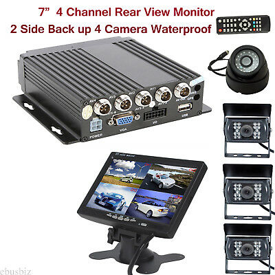 """Video/Audio Recorder DVR +7"""" Rear View Monitor+4 Backup Camera for Van Bus Truck"""
