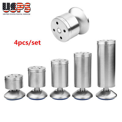 Set of 4 Stainless Steel Adjustable Sofa Chair Table Cabinet Legs Lift Furniture
