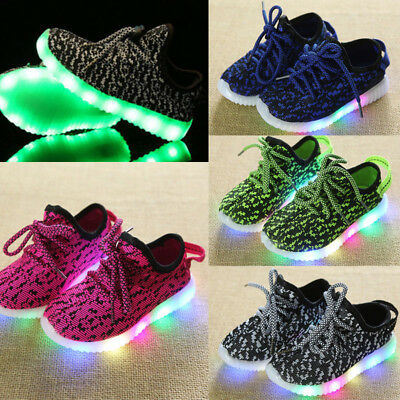 UK New Kids Boys Girls Light Up Shoes LED Flashing Trainers Casual Sneakers 2019