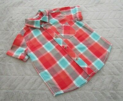Baby Boys 100% Cotton Checked Short Sleeve Shirt (9-12 Months) - Mothercare