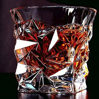 Diamond Design Crystal Cut Whiskey Glass Set (300ml) - Pack of 6 Free Shipping