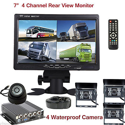 """7"""" Rear View LCD Monitor Video/Audio Recorder AHD DVR+LED 4 Camera for Bus Truck"""
