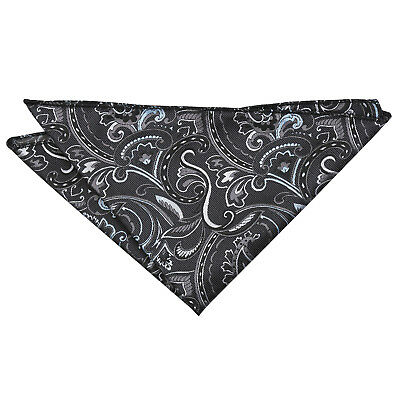 DQT Woven Floral Cypress Paisley Black & Silver Formal Handkerchief Hanky