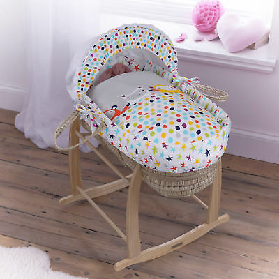 New Clair De Lune The Dudes Palm Baby Moses Basket With Mattress & Stand