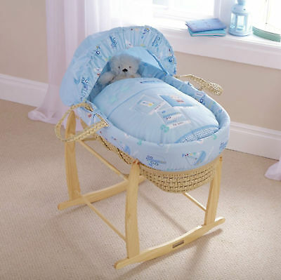New Clair De Lune Ahoy Blue Palm Baby Moses Basket With Mattress & Stand