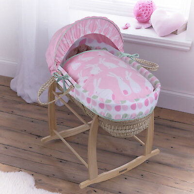 New Clair De Lune Rabbits Palm Baby Moses Basket With Mattress & Stand