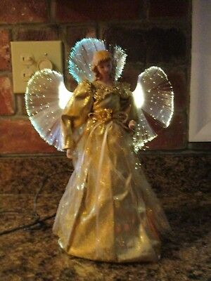 Vintage Large Beautiful Gold Christmas Angel Light Up Tree Topper - VINTAGE ANGEL TREE Topper, Porcelain Face And Hands With Wings And