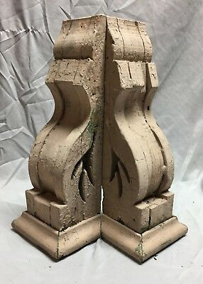 Pair Antique Wood Corbels Roof Brackets Victorian Shabby Shelf Vintage 460-18C