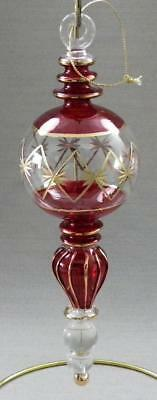 Artisan Hand Blown Glass Ornament - Hand Painted Red Gold