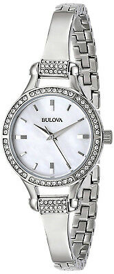 Bulova 96L128 Crystal Mother of Pearl Dial Stainless Steel Women's Watch