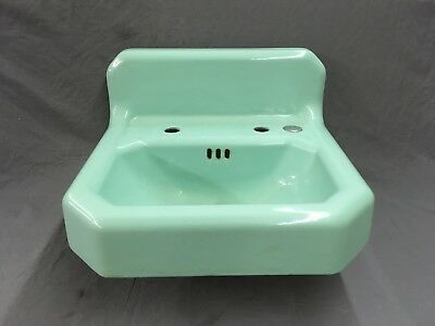 Vtg Mid Century Art Deco Jadeite Green Porcelain Old Cast Iron Bath Sink 613-18E