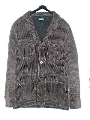 Benetton Cotton Corduroy Military Tunic- Style Quilted Jacket