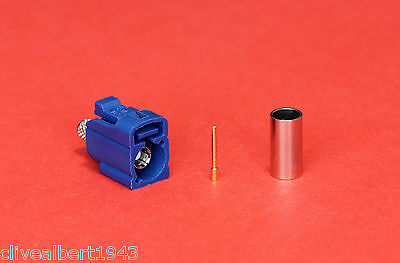 "1 x FAKRA GPS Female RG58 Blue Code C Connector ""NEW"""