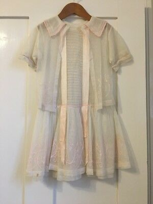 Vintage 1920s Girls Tulle Embroidered Dress