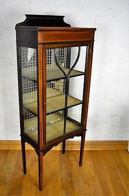 Antique inlaid mahogany collectors display cabinet