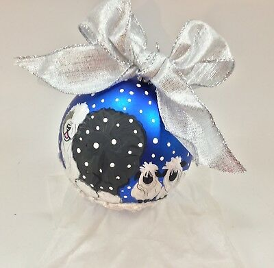 """Old English sheepdog 4"""" HAND PAINTED shatter proof Ornament midnight blue"""
