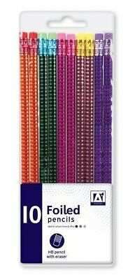 10 x Foiled HB Pencils With Rubber Eraser Tip School Exam Stationary Pencil New