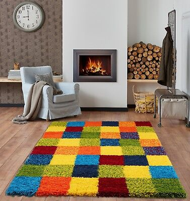 Small - X Large Thick Multi Vibrant Coloured Blocks Patchwork Squares Shaggy Rug