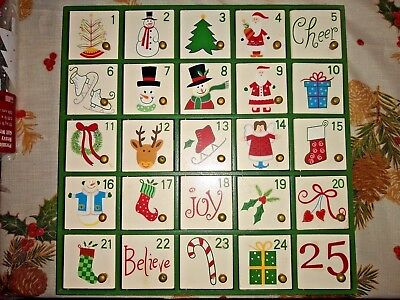 Christmas Advent Holiday Countdown Calendar In Wood 74 99 Picclick