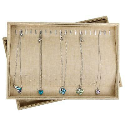 Sackcloth Stackable 20 Hooks Jewelry Tray Necklace Display Showcase Organizer