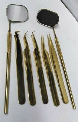 Russian Volume Tweezers Set of 5 Eyelash Extension Tweezers with 2 mirrors