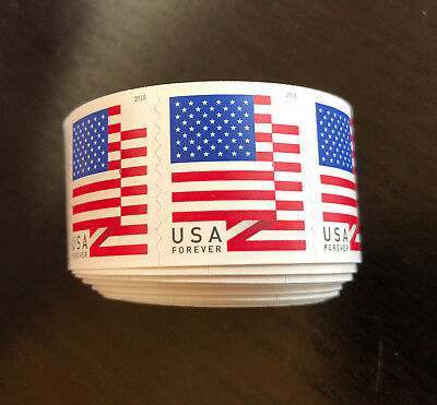 One USPS USA Forever Flag Stamp Roll. (Coil includes 100 stamps)