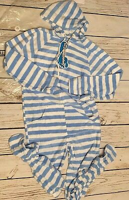 Jumpin Jammerz Unisex Adult Sized Footed Blue And White Striped Pajamas Medium
