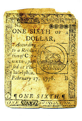 Revolutionary War Continental Currency One Sixth Of A Dollar Issue February 1776