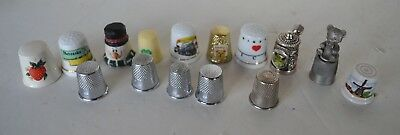Vintage Sewing Thimble Porcelain Silver Tone Lot of 15