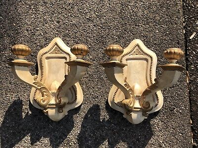 Fine MATCHED Pair ANTIQUE Carved Painted Wood WALL SCONCES Lamps c.1930s