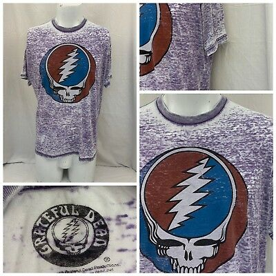 Grateful Dead Shirt L Purple Short Sleeve Cotton Poly EUC YGI W8-260