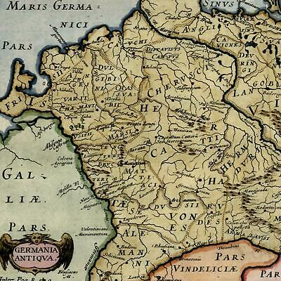 ancient Germany Europe Germania antiqua 18th century hand color old map