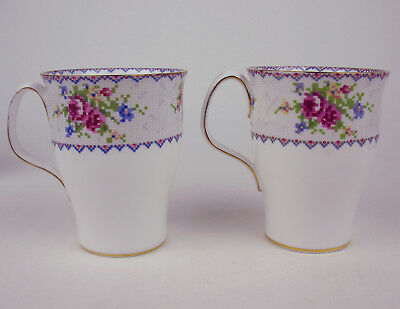 Set of 2 Tall Mugs Royal Albert Petit Point vintage bone china England