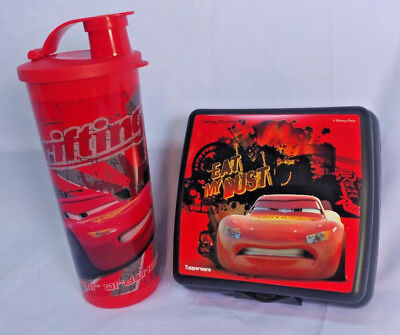 NEW! Tupperware Cars Lunch Set Sandwich Keeper and 16 oz. Tumbler Cup