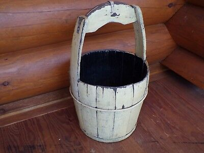 "Antique Wood Barrel Bucket w/ Square Handle Well Bucket 26"" Tall Primitive Decor"