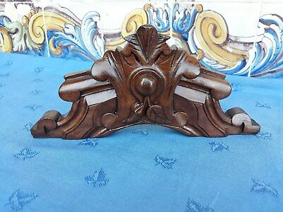 Antique French Architectural Hand Carved Wood Pediment
